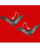 BAT EARRINGS Black Dracula Vampire Gothic Occult Costume Jewelry - $7.97