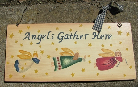 Primary image for 2016- Wood Sign  Angels Gather Here