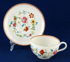 Royal Worcester Astley Footed Cup & Saucer Z1822 Older Bone China Like New - $15.00