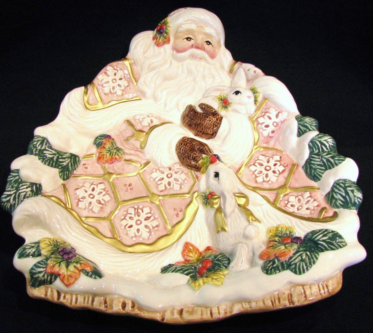 Fitz and floyd canape plate snowy woods santa christmas for Fitz and floyd canape plate