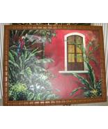 Frank Walcutt Red Balcony Painting Canvas Bamboo Frame - $199.99