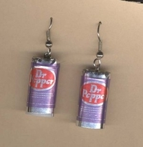 DR PEPPER CANS EARRINGS - Soda Pop Drink Fast Food Charm Jewelry - $6.97