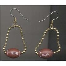 Funky FOOTBALL CHAIN EARRINGS Player Coach Sports Team Fan Beads Charms ... - $5.97