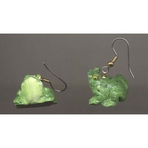 Primary image for FROG TOAD EARRINGS - 3d Resin Pond Bull Frog Charm Funky Jewelry