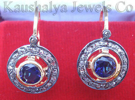 Victorian 0.72ct Rose Cut Diamond Blue Sapphire Christmas Wedding Earrings - $327.62