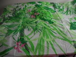 Vintage NWOT Tropical Twin Flat Sheet Springmaid Green Pink - $29.69