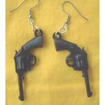 GUN EARRINGS-Retro Punk Pistol Charm Funky Costume Jewelry-BLACK - $8.97