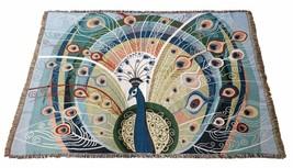 Pavone Piume Uccello Blu Verdi Arazzo 160cm x 220cm Copriletto - $49.93