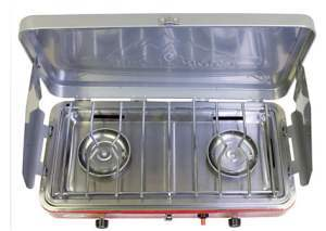 Camp Chef Camping Outdoor Oven 2 Burner Camping Stove Grill Gazebo Drip Tray Red