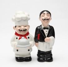 Chef and Waiter Restaurant Magnetic Ceramic Salt and Pepper Shaker Set - $10.84