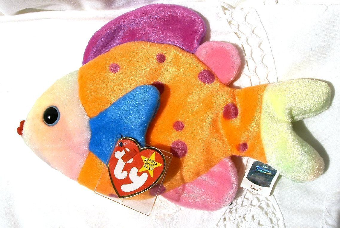 Ty beanie baby lips bright colorful fish ty dye mwmt for Fish beanie baby