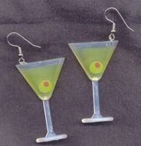 Huge Funky MARTINI GLASS EARRINGS Cocktail Beach Party Bar Drink Novelty... - $5.97