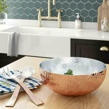 Elegant Copper Hammered Salad Bowl With 2 Serving Utensils - Complete Wi... - £70.49 GBP