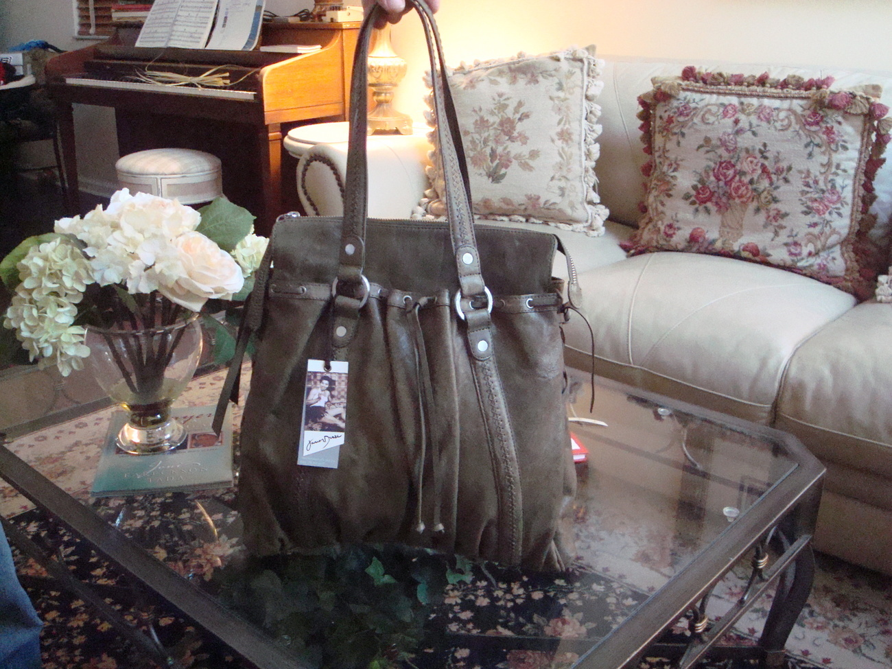 Primary image for Junior Drake 'Juliette' Leather Bag Olive Green New With Tags! *New Lower Price!