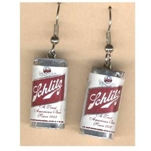 SCHLITZ BEER CAN EARRINGS-Punk Charm Fun Bar Drink Funky Jewelry - $6.97