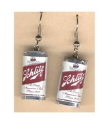 Funky SCHLITZ BEER CAN EARRINGS Mardi Gras Bar Drink Party Charm Costume... - $6.97