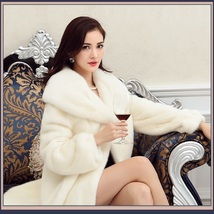 Thick Soft Warm White Snow Mink Wide Collar and Lapel Long Sleeved Faux Fur Coat