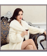 Thick Soft Warm White Snow Mink Wide Collar and Lapel Long Sleeved Faux ... - $351.90 CAD
