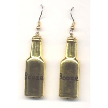 Bottle Of Booze Liquor Earrings   Bartender Jewelry   Gold - $3.97