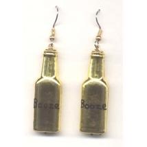 BOTTLE of BOOZE LIQUOR EARRINGS - Bartender Jewelry - GOLD - $3.97