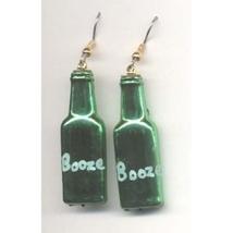 BOTTLE of BOOZE LIQUOR EARRINGS - Bartender Jewelry - GREEN - $3.97