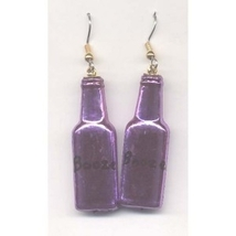 BOTTLE of BOOZE LIQUOR EARRINGS - Bartender Jewelry - PURPLE - $3.97