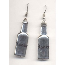 Bottle Of Booze Liquor Earrings   Bartender Jewelry   Silver - $3.97