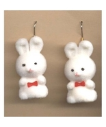 BUNNY FUZZY EARRINGS-Easter Rabbit Toy Charm Funky Jewelry-WHITE - $6.97