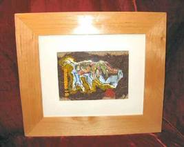 Original Framed Matted Mixed Media Print Abstract Nyugen E. Smith - $137.50