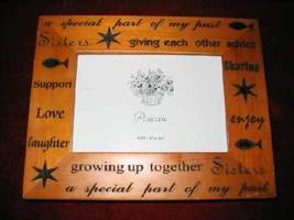Pine Picture Frame Carved Inspirational Wooden Sisters 7.5x6 - $20.35