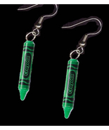 CRAYOLA CRAYON EARRINGS-Artist Teacher Charm Funky Jewelry-GREEN - $5.97