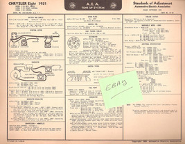 1951 AEA Tune-up Chart Chrysler Eight New Yorker, Crown, Imper w/ Wiring... - $6.50