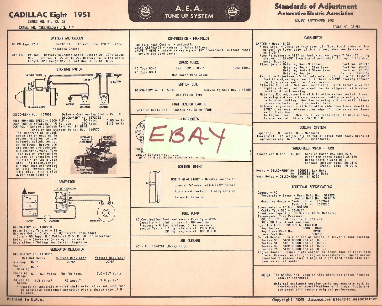 1951 AEA Tune-up Chart & Wiring Diagram Cadillac Eight (8) Series  60,61,62,75