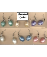 BIRD EGG FUNKY EARRINGS-Spring Easter Bunny Charm Jewelry-1-PAIR - $5.97