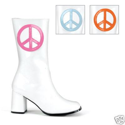 WOMEN'S WHITE SHORT RETRO COSTUME GOGO BOOTS SZ 10