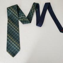 Tommy Hilfiger Dark Green Plaid Navy Silk Neck Tie Made In Usa - $19.75