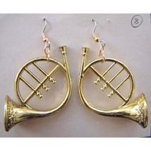 FRENCH HORN EARRINGS-Musical Instrument Funky Jewelry-GOLD-Big - $6.97