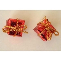 GIFT PACKAGE BUTTON EARRINGS-Mini Present Holiday Jewelry-RED - $3.97