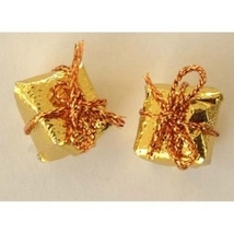 GIFT PACKAGE BUTTON EARRINGS-Mini Present Holiday Jewelry-GOLD - $3.97