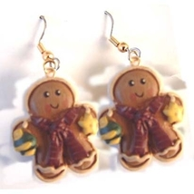 GINGERBREAD MAN STAR EARRINGS-Resin Cookie Gift Ornament Jewelry - $6.97
