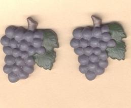 HUGE Resin Fruit BUNCH GRAPES BUTTON EARRINGS Wine Tasting Charm Funky J... - $6.97