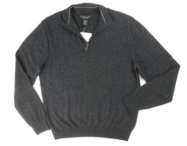 New $198 Bloomingdales 100% Cashmere Charcoal Half Zip Mock Neck Sweater Sz 2XL - $34.64
