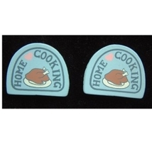 HOME COOKING BUTTON EARRINGS-Cooking Chef Charm Fun Food Jewelry - $6.97