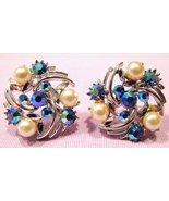 Lisner Swirl Earrings Blue AB Rhinestone and Fa... - $20.00