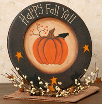 6W1014bm - Happy Fall Ya'll Plate Wooden Plate  - $12.95