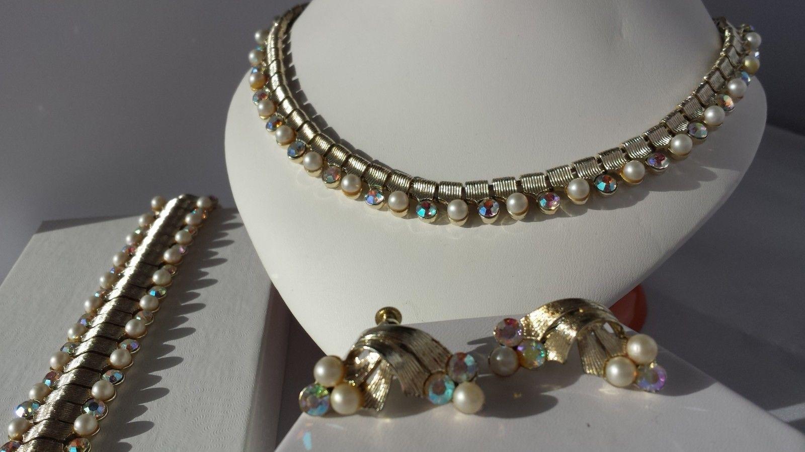 b6ab7fa5a 57. 57. Previous. Vintage Coro Gold Tone PARURE Necklace Earrings Set  Bracelet Rhinestone Pearl