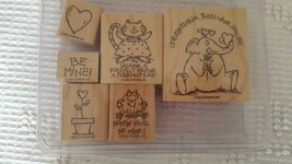 "6 STAMPIN'UP WOODEN RUBBER MOUNTED INK STAMP SET HAVE A HEART,2002,1-3""V... - $9.89"