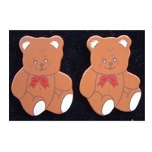 TEDDY BEAR RED BOW BUTTON EARRINGS-Country Wood Funky Jewelry - $4.97