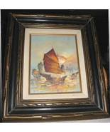Vintage Hong Kong Junk Boat Framed Oil Painting Kwok - $129.99