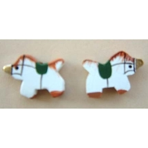 UNICORN BUTTON EARRINGS-Tiny Wood Mythical Fantasy Funky Jewelry - $3.97